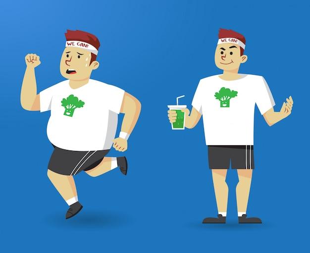 Успешная диета трансформации человека Premium векторы