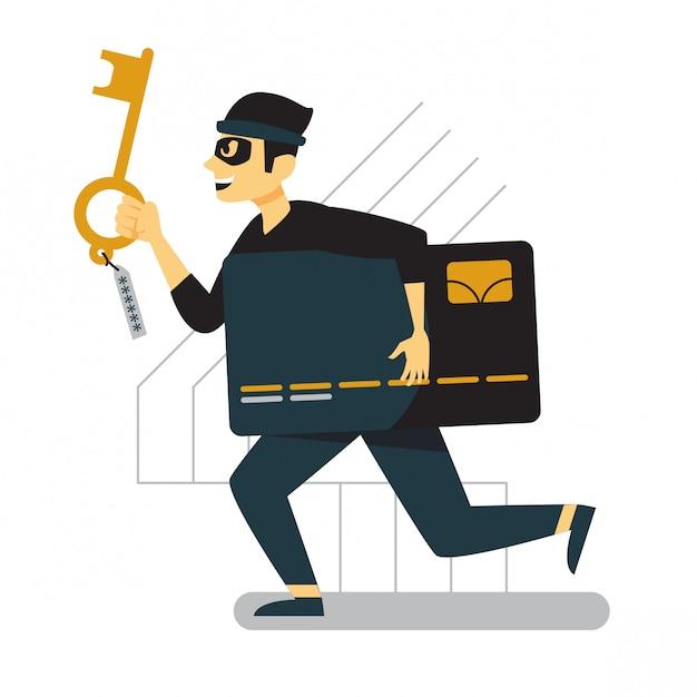 彼の手にキーを使用して実行しているクレジットカード泥棒 Premiumベクター