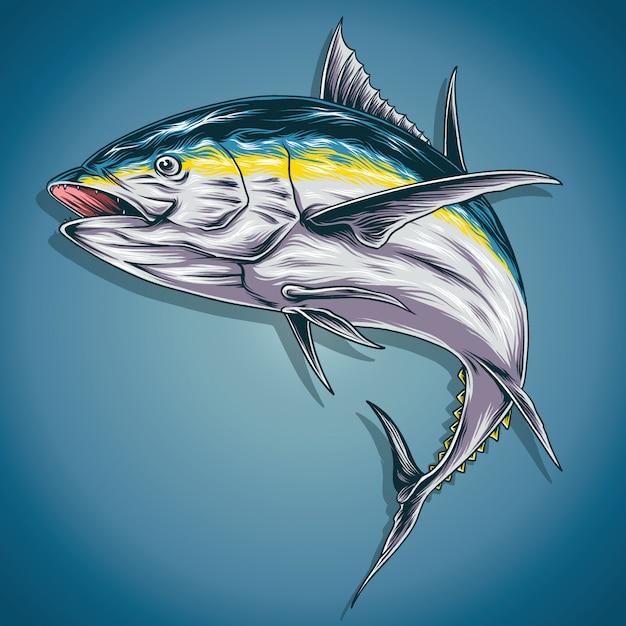 Иллюстрация желтого тунца Premium векторы