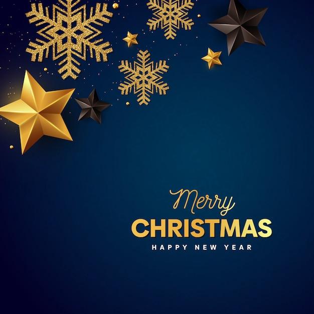 メリークリスマスゴールデンフレークと青の星 Premiumベクター