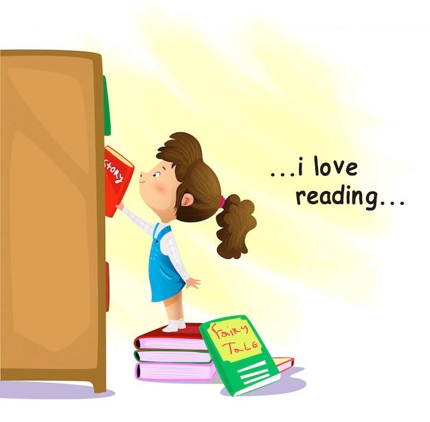 本屋で本を探して漫画少女 Premiumベクター