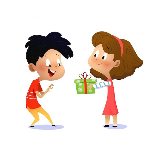 Детский день рождения. девочка дарит мальчику подарок Premium векторы