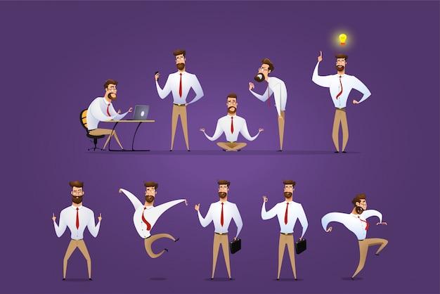 ビジネスマンのキャラクターのポーズ、ジェスチャー、アクションの大きなベクトルを設定します。 Premiumベクター
