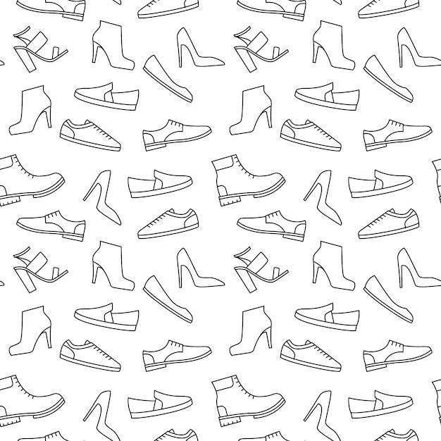 モノクロ靴パターン Premiumベクター