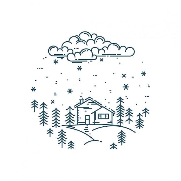 ラウンド構成の平らな線形冬の風景 Premiumベクター
