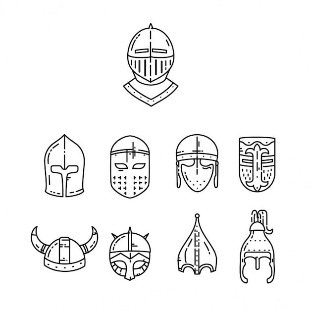 白で隔離される中世のヘルメットセット。 Premiumベクター