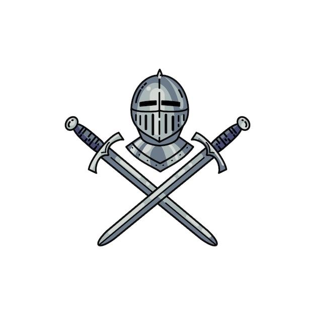Шлем и скрещенные мечи Premium векторы