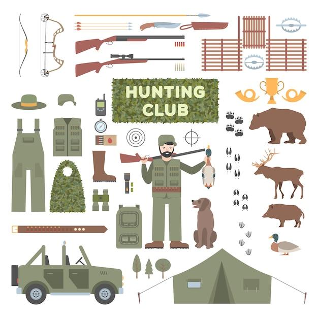Набор охотничьих аксессуаров. Premium векторы