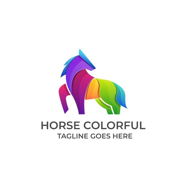 Лошадь красочный логотип Premium векторы