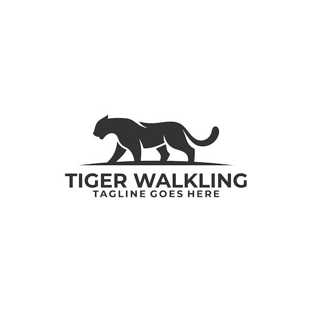 Шаблон иллюстрации концепции абстрактного тигра силуэта идя. Premium векторы