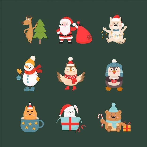 Набор символов празднования рождества и животных векторные иллюстрации Premium векторы