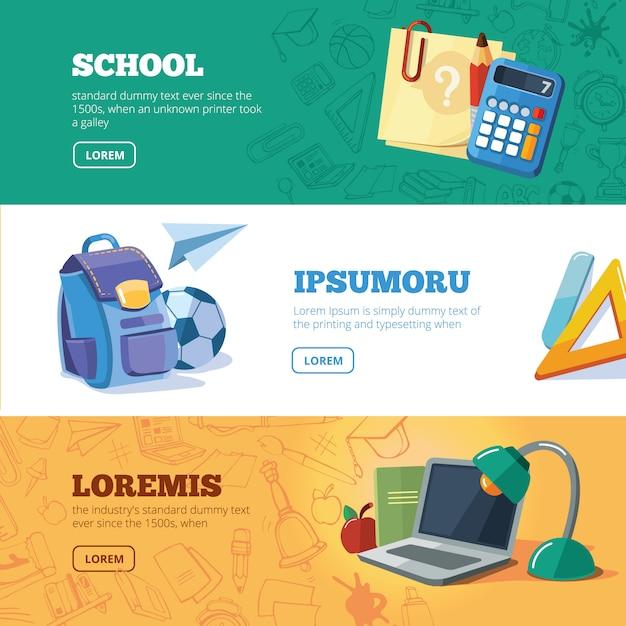 Обратно в школу набор веб-баннеров Premium векторы