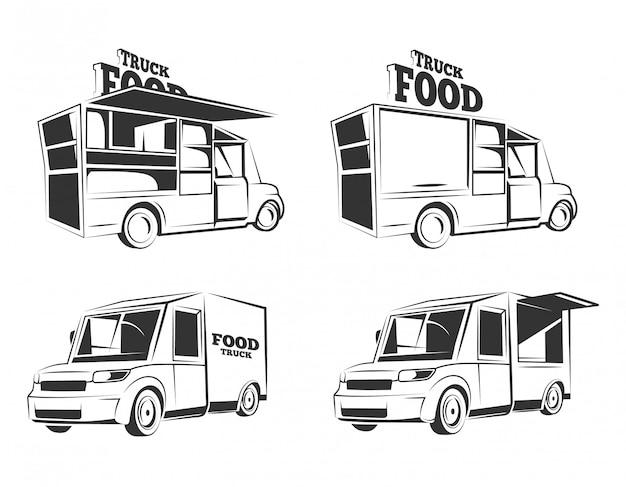 Старинный монохромный пищевой грузовик иллюстрации набор Premium векторы