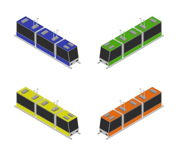 Изометрические трамваи Premium векторы