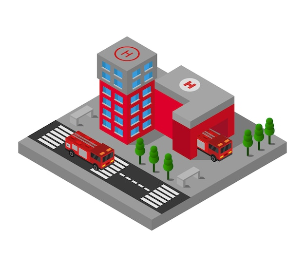 等尺性消防署 Premiumベクター