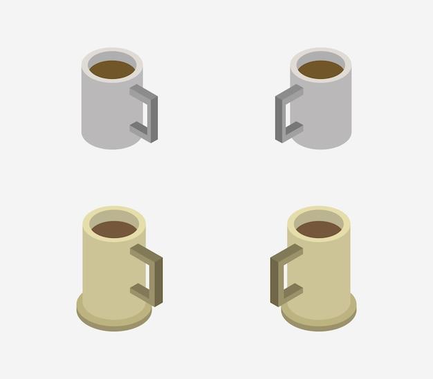 Набор изометрических кофейных чашек Premium векторы
