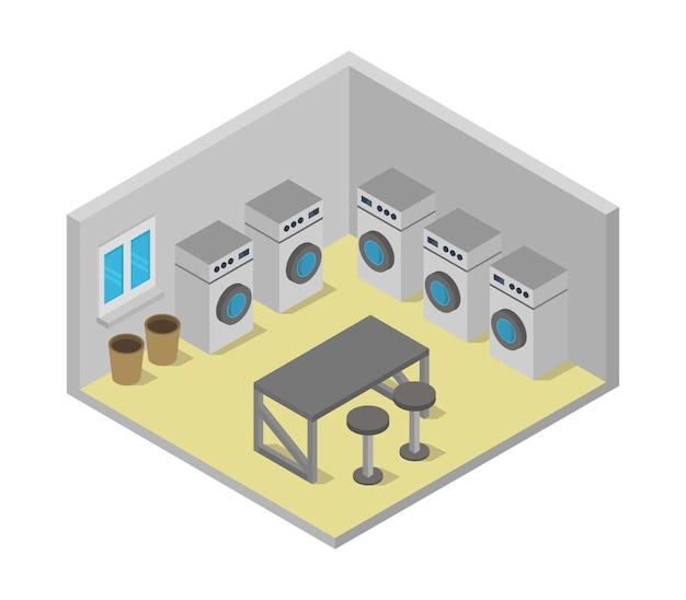 Изометрическая прачечная Premium векторы