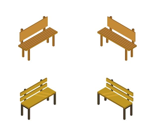 Набор изометрических скамей Premium векторы