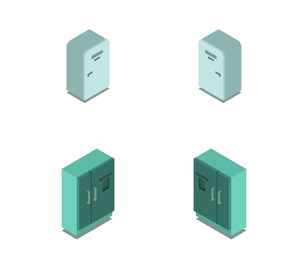 等尺性冷蔵庫セット Premiumベクター