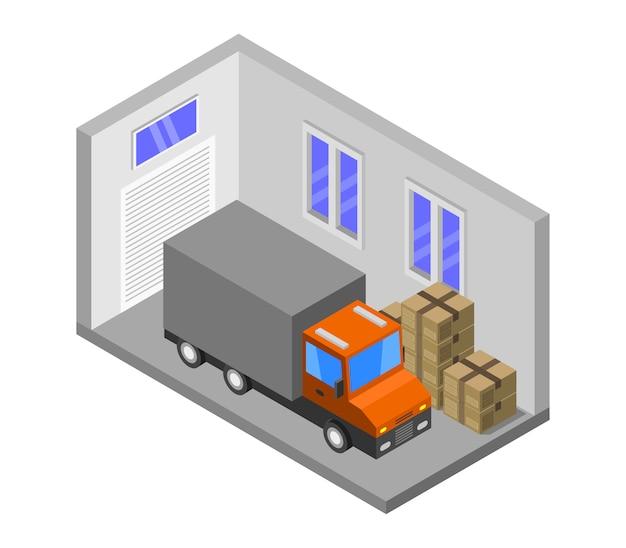 Изометрический гараж Бесплатные векторы