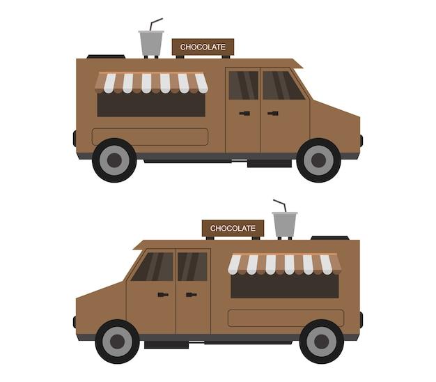 Шоколадный грузовик на белом Premium векторы