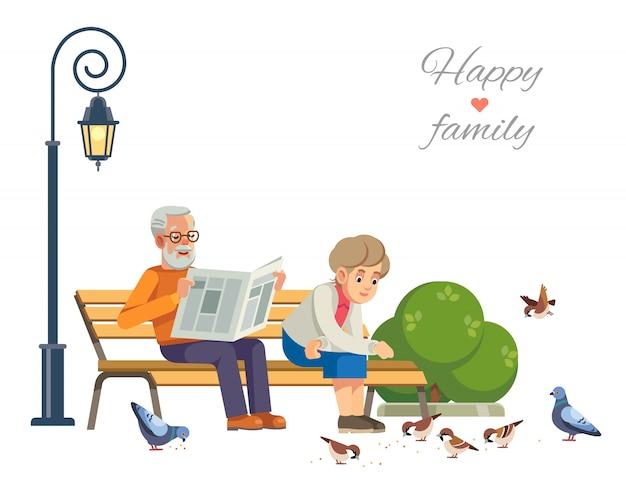 公園のベンチで鳥に餌をやる幸せな老夫婦、白を分離します。 Premiumベクター