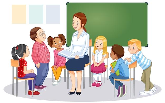 子供と教室の黒板の先生。漫画ベクトル分離イラスト。 Premiumベクター