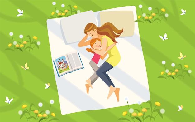 Мать и дочь в природе. счастливая семья, проводить время на газоне, читать книги и отдыха. концепция материнства по воспитанию детей. сладкие мечты. Premium векторы
