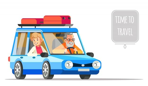 車で一緒に旅行する老夫婦。高齢者のライフスタイルフラットイラストと人生の冒険と喜びの楽しみ。おじいちゃんとおばあちゃんのカップルが車で旅行します。 Premiumベクター
