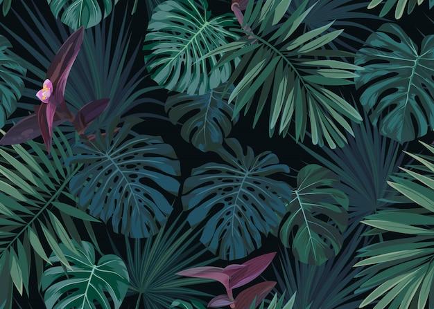 暗い背景にシームレスな手描き緑のヤシと植物のエキゾチックなパターンを残します。 Premiumベクター