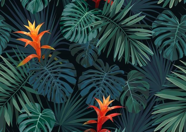手には、グズマニアの花、モンステラ、ロイヤルシュロの葉でシームレスなトロピカル花柄が描かれました。エキゾチックなハワイアン。 Premiumベクター