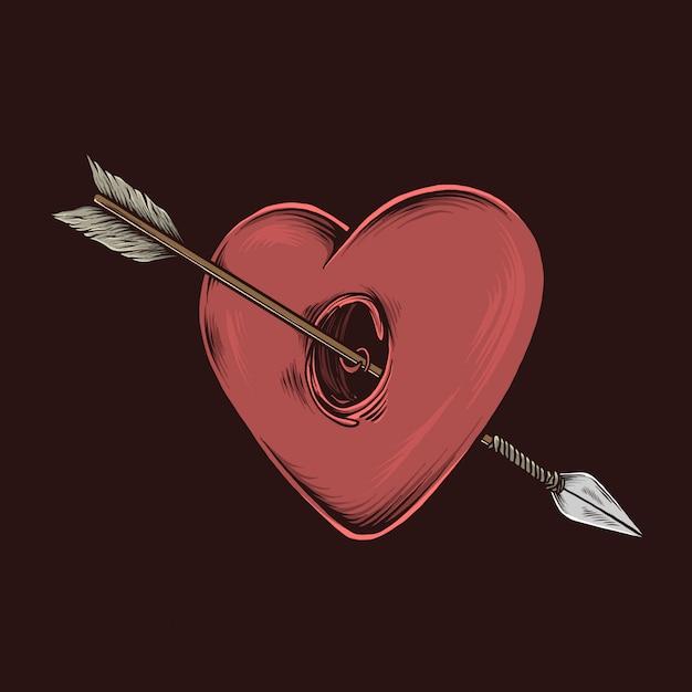 Рука рисунок старинные иллюстрации стрелки любви Premium векторы