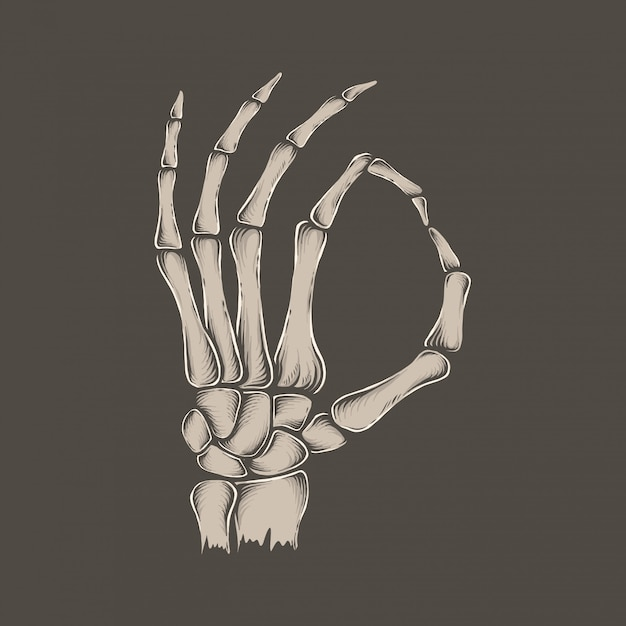 Рука рисунок старинный скелет хорошо рука векторная иллюстрация Premium векторы
