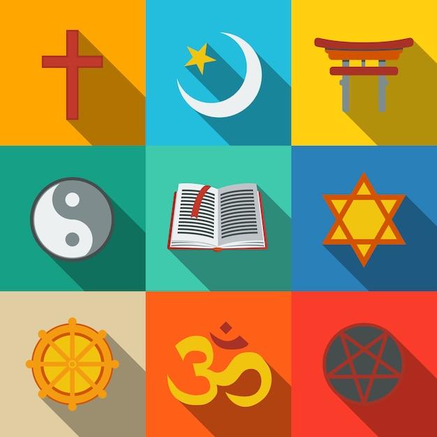 世界の宗教のシンボルセット Premiumベクター