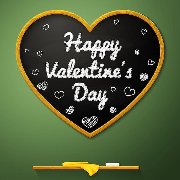 幸せなバレンタインデー黒板ハート Premiumベクター