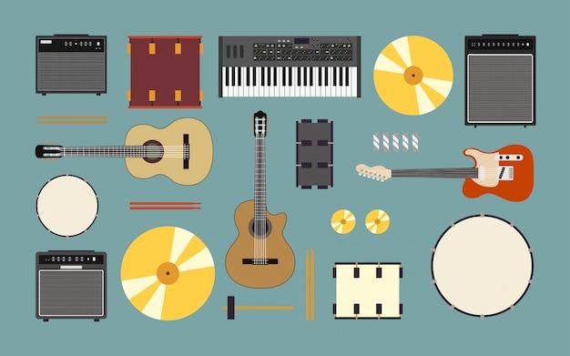 Музыкальные инструменты включают гитару, барабан, усилитель и клавиатуру в плоском дизайне иконок Premium векторы