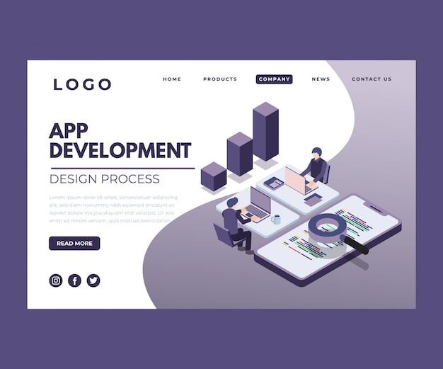 アプリ開発プロセスの等尺性アートワーク。 Premiumベクター