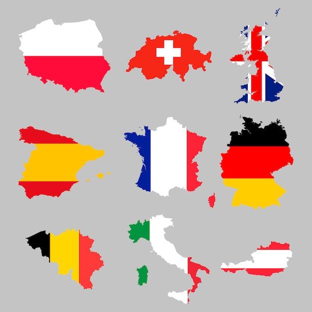 ヨーロッパの旗マップセット Premiumベクター