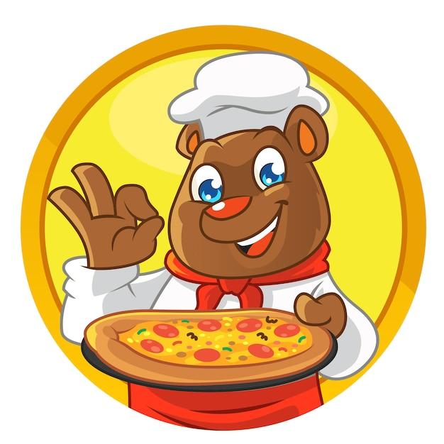 Шеф-повар талисман медведь, принося пиццу Premium векторы