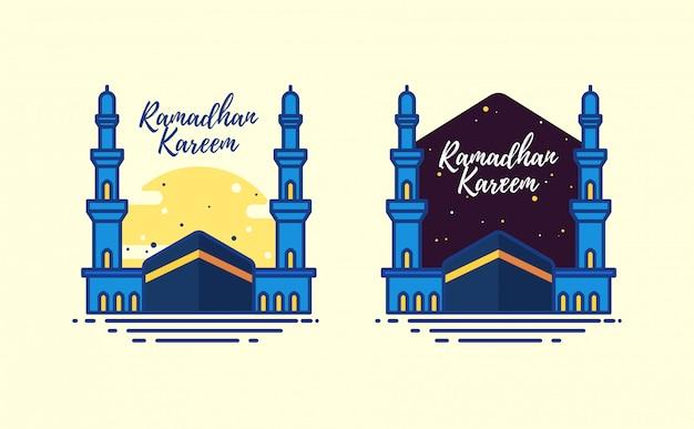 アルハラムモスクとラマダンカリーム Premiumベクター