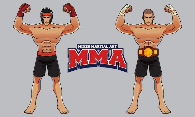 Смешанные боевые искусства, характер спортсмена Premium векторы