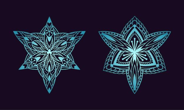 Мандала арт орнамент цветочный этнический градиент цвета Premium векторы