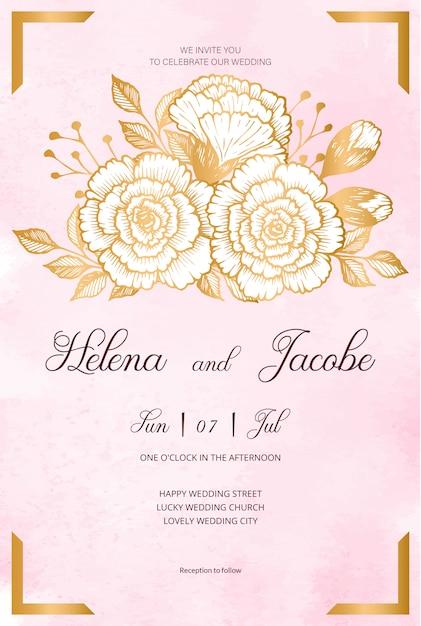 Красивая свадьба пригласительная открытка с золотыми цветами, листьями, акварель фон и филиалов. счастливое свадебное приглашение. идеально подходит для свадебной церемонии и счастливого брака! Premium векторы