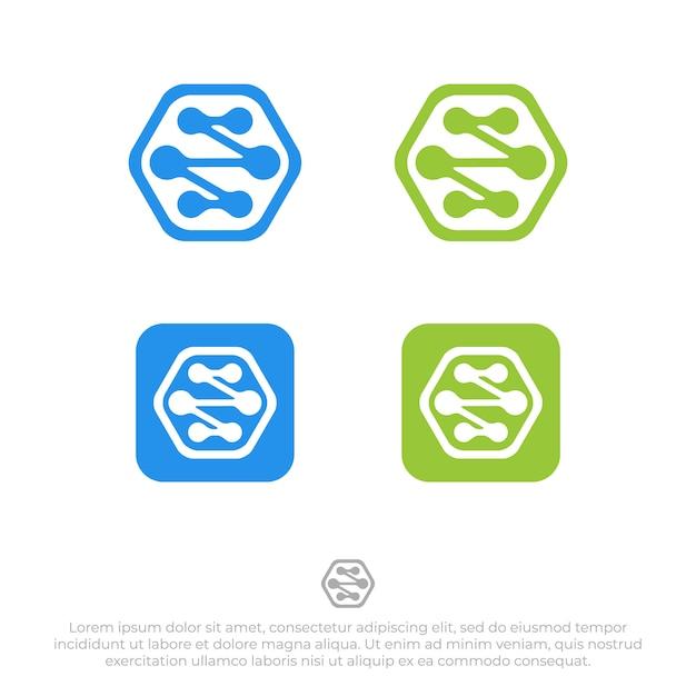 接続ロゴデザインテンプレートベクトル Premiumベクター