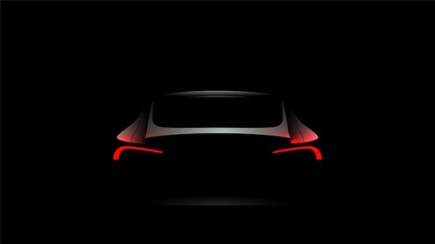 暗い黒の背景に赤信号でバック車のシルエット Premiumベクター