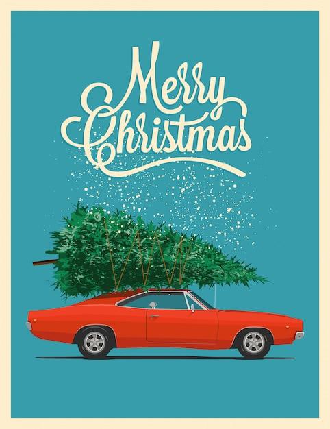 Рождественская открытка или плакат с ретро красный автомобиль с елкой на крыше. Premium векторы