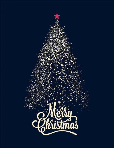 ネイビーブルーカードに白いスノーフレーククリスマスツリーシルエット Premiumベクター
