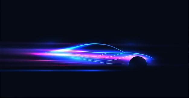 抽象的な未来的なネオン輝くイラスト Premiumベクター