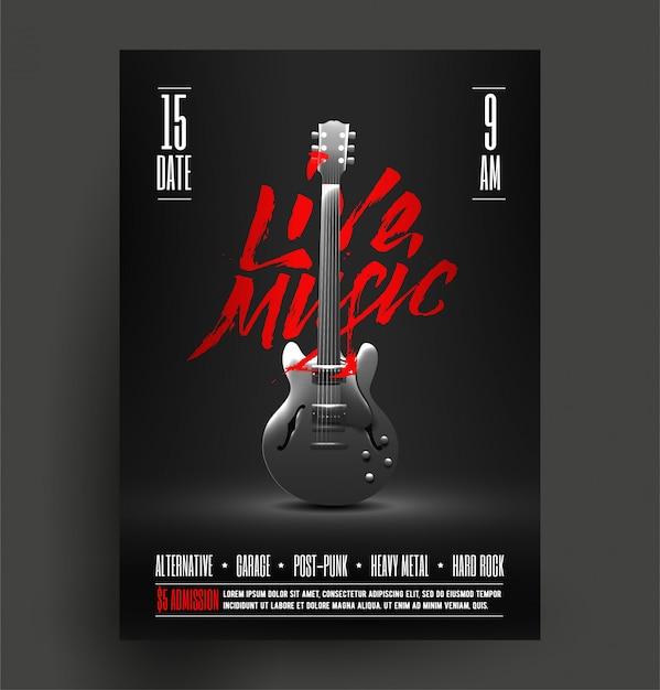 ビンテージスタイルのレトロなライブロック音楽パーティーやイベントのポスター Premiumベクター