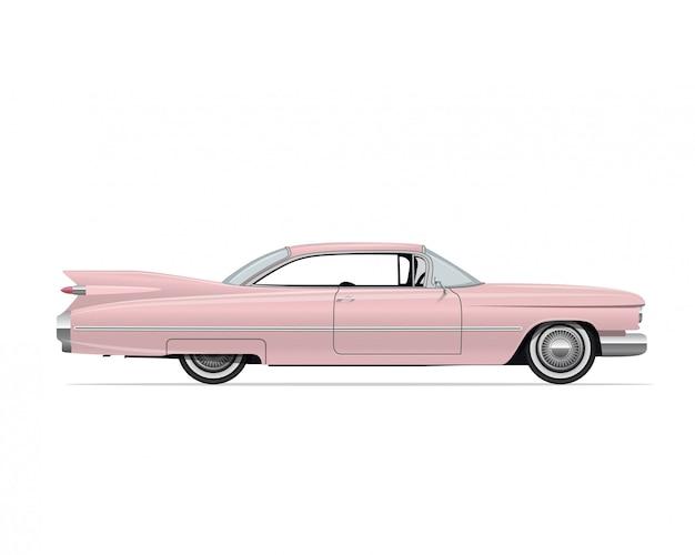 クラシックアメリカンヴィンテージピンクカー Premiumベクター